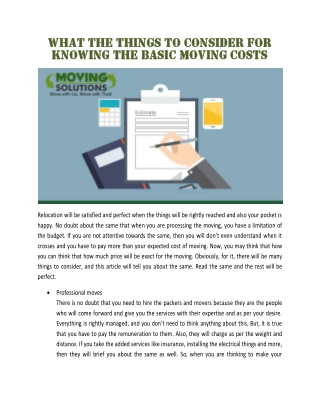 What the things to consider for knowing the basic moving costs
