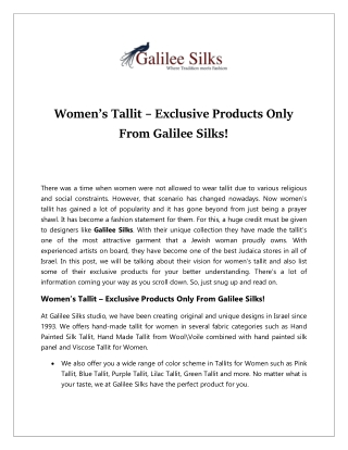 Women's Tallit – Exclusive Products Only From Galilee Silks!