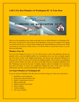 Call Us For Best Plumbers in Washington DC At Your Door