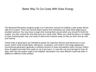 Better Way To Cut Costs With Solar Energy