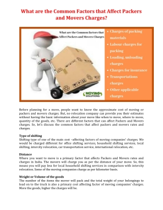 What are the Common Factors that Affect Packers and Movers Charges?