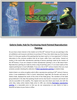 Galerie Dada: Hub for Purchasing Hand-Painted Reproduction Painting