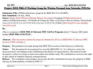 Project: IEEE P802.15 Working Group for Wireless Personal Area Networks (WPANs) Submission Title:  [STMicroelectronics p