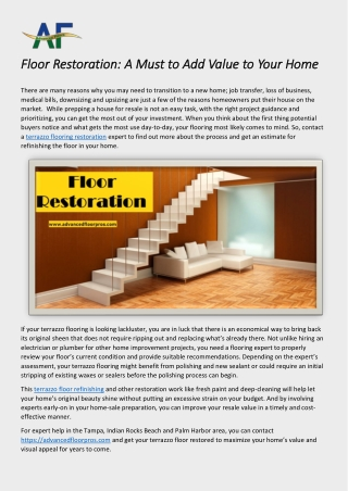 Floor Restoration: A Must to Add Value to Your Home