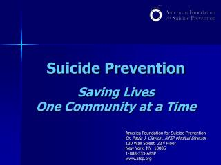 Suicide Prevention Saving Lives One Community at a Time