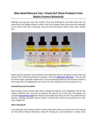 Men Need Skincare Too — Check Out These Products From Native Essence Botanicals