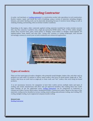Roofing contractors | Builders-Roofing