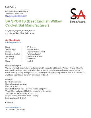 Sports product Manufactures , Supplier & Exporter at online store SA Sports (Shree Aastha)
