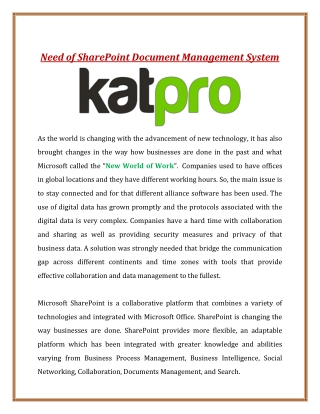 Need of SharePoint Document Management System
