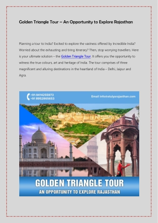 Golden Triangle Tour – an opportunity to explore Rajasthan
