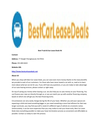 Best Truck & Suv Lease Deals NJ