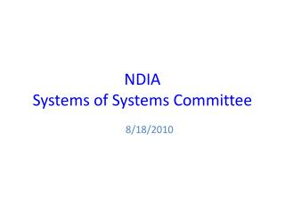 NDIA Systems of Systems Committee