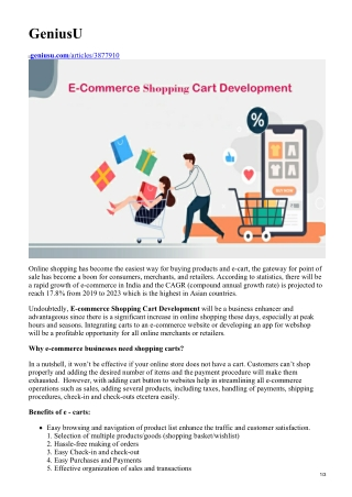 Increase Your Sales With E-Commerce Shopping Cart Development