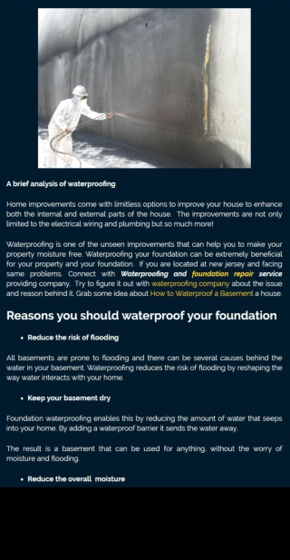 The brief analysis of the waterproof house foundation