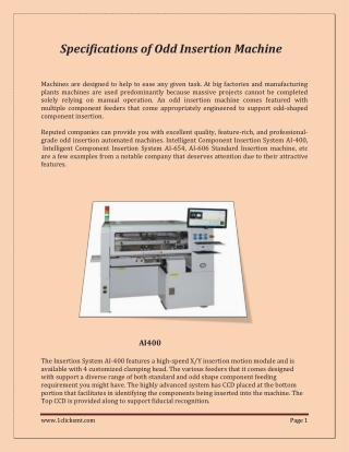 Specifications of Odd Insertion Machine