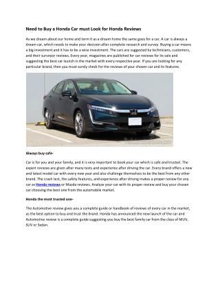 Need to Buy a Honda Car must Look for Honda Reviews