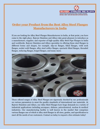 Order Your Product from the Best Alloy Steel Flanges Manufacturers in India