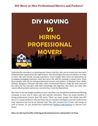 DIY Move or Hire Professional Movers and Packers?