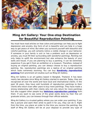 Ming Art Gallery: Your One-stop Destination for Beautiful Reproduction Painting