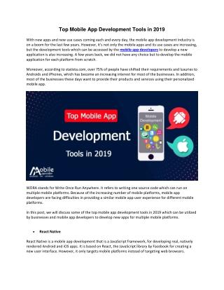 Top Mobile App Development Tools in 2019