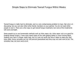 Simple Steps to Eliminate Toenail Fungus Within Weeks