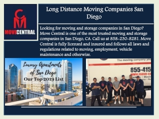 Long Distance Moving Companies San Diego