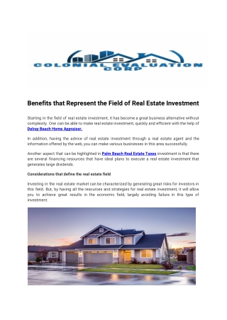 Benefits that Represent the Field of Real Estate Investment