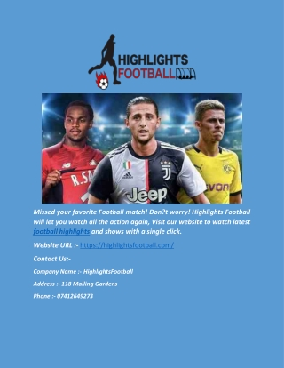 Watch Football Match Highlights