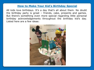 How to Make Your Kid's Birthday Special