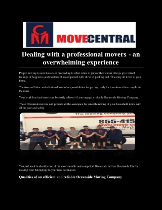 Professional movers - an overwhelming experience