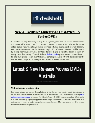 New & Exclusive Collections Of Movies, TV Series DVDs