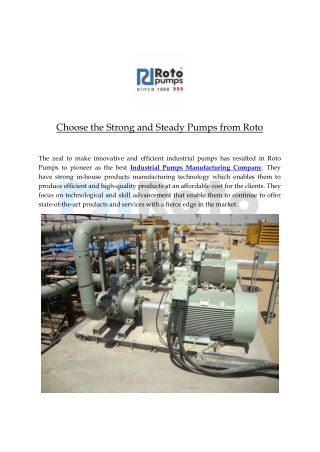 Choose the Strong and Steady Pumps from Roto