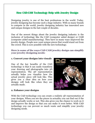 How CAD-CAM Technology Help with Jewelry Design