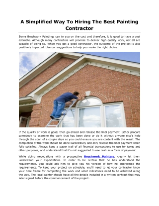 A Simplified Way To Hiring The Best Painting Contractor