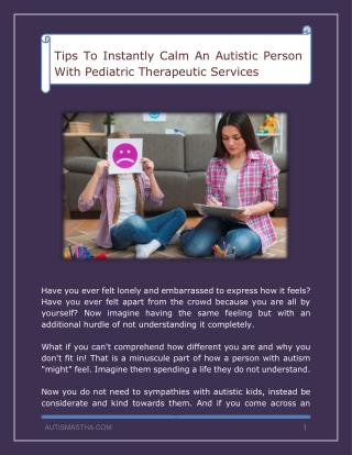 Calm An Autistic Person With Pediatric Therapeutic Services