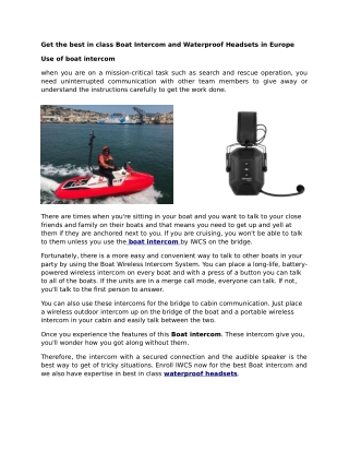 Get the best in class Boat Intercom and Waterproof Headsets in Europe