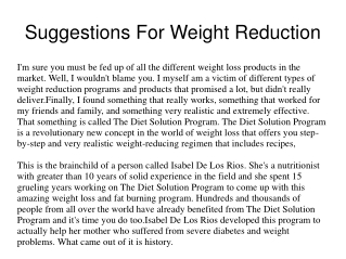 Suggestions For Weight Reduction