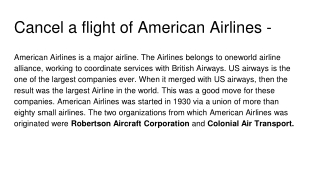 Cancel a flight of American Airlines