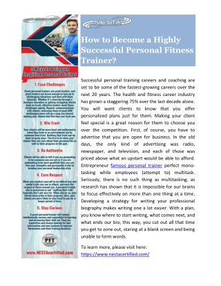 How to Become a Highly Successful Personal Fitness Trainer?