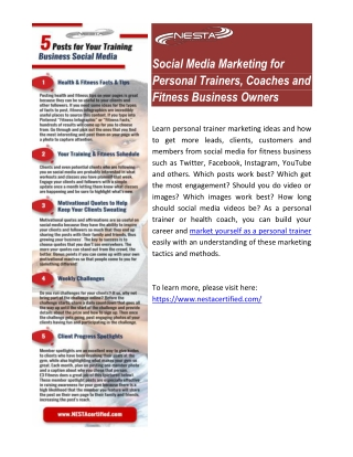 Social Media Marketing for Personal Trainers, Coaches and Fitness Business Owners