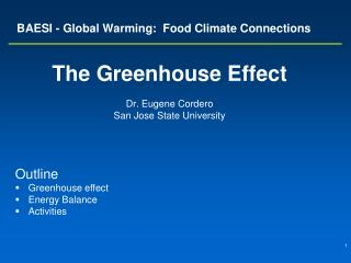 BAESI - Global Warming:  Food Climate Connections