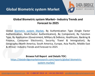 Global Biometric system Market– Industry Trends and Forecast to 2025