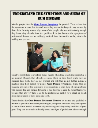 Understand The Symptoms and Signs of Gum Disease