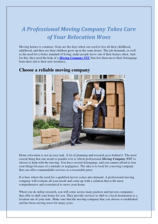 A Professional Moving Company Takes Care of Your Relocation Woes