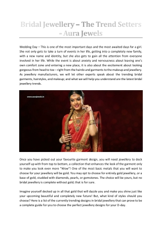 Bridal Jewellery – The Trend Setters - Aura Jewels