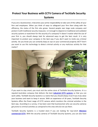 Protect Your Business with CCTV Camera of TechSafe Security Systems