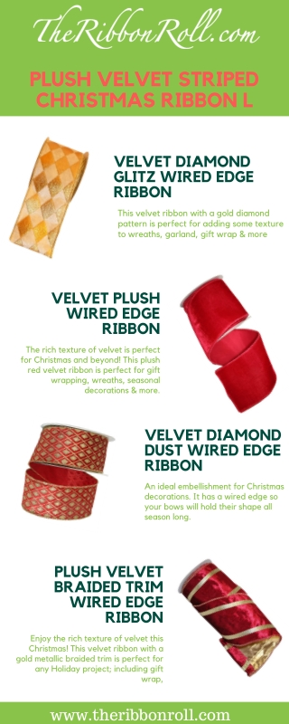 Plush Velvet Striped Christmas Ribbon | The Ribbon Roll