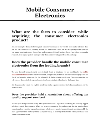 Mobile consumer electronics