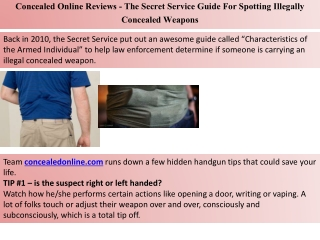 Concealed Online Reviews - The Secret Service Guide For Spotting Illegally Concealed Weapons