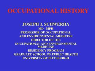 OCCUPATIONAL HISTORY